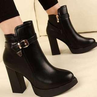 【預購】AT - 女品(3902):皮革+短毛絨*靴子/女鞋(尺寸:34-40碼/高度:約11公分/防水台:約2公分/重量:約0.85KG)_免運。