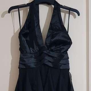 Black Halter Backless Formal Maxi Dress Sz6