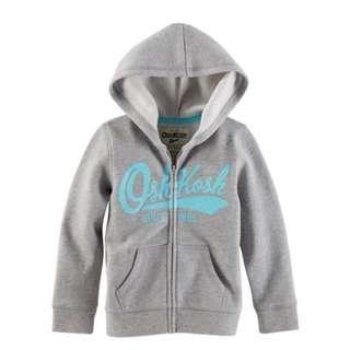 🚚 Oshkosh灰色天藍撞色英文字母刷毛連帽保暖外套