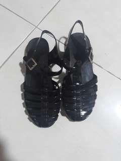 Caged Jelly Black Sandals