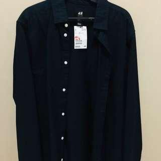 H&M Dark Blue Polo Longsleeves
