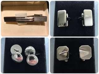 🈹💼 《上班必備 》100%全新 純鐡 領帶夾/呔夾 及 純銀 袖口扭扣 Silver Cufflinks 3對
