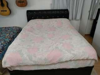 Queen size storage bed frame with mattress