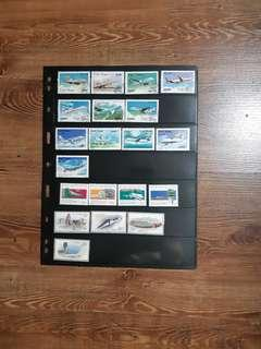 Aircraft stamps from Macau, China and Vietnam