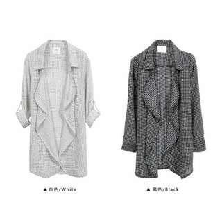 🚚 -Dan小舖- 降🎉 小線格 小格紋 波浪翻領雪紡外套 襯衫 白色 東京著衣