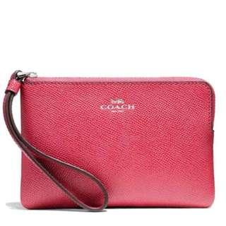 Coach zip leather wristlet on sale $280 手袋仔