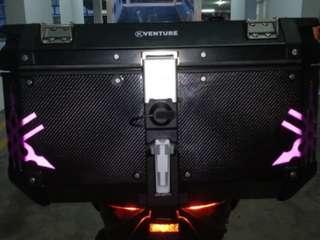 Top Box. Carbon Fiber Wrap. Yamaha Logo Cut-Out. Reflective Purple.
