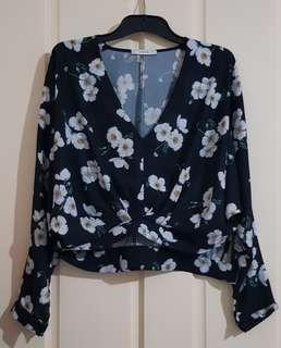 Floral Long Sleeve Crop Top Sz10
