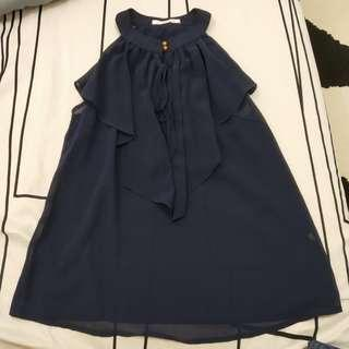 Chiffon high collar cut in blouse