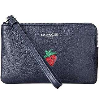 Coach limited strawberry leather wristlet sale $380