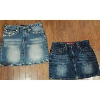 Light/Dark Blue Stone Wash Low Waist Mini Jeans Skirt#OCT10