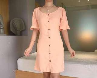 Peach Bell Buttondown Dress