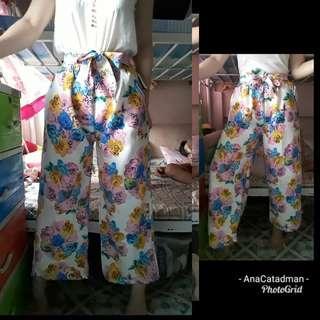 Floral front bow pants
