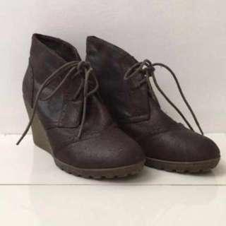 REPRICED Dark Brown Wedge Leather Boots