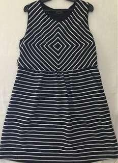 Cortefiel striped black and white A-line office wear dress