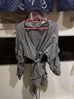 Zara Grey Top with Ribbons