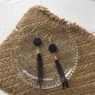 [NEW] Korean Fashion Black Tassel Earring