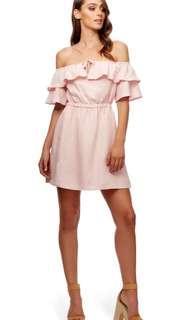 Kookai pink cold shoulder dress