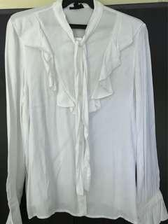 Topshop white button down ruffled office wear