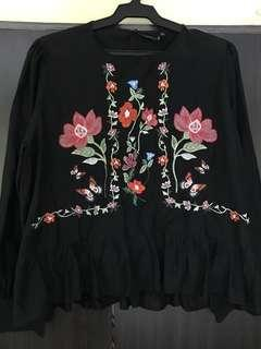 Zara bohemian peplum blouse in black with floral embroidery