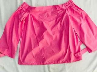 Warehouse rose pink off the shoulder blouse with flared sleeves