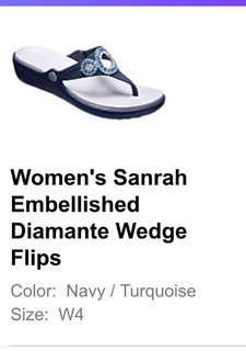 Women's Sanrah Embellished Diamanté Wedge Flips