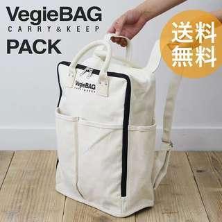 日系 vegie bag 背囊 加厚帆布背包 雙肩購物袋