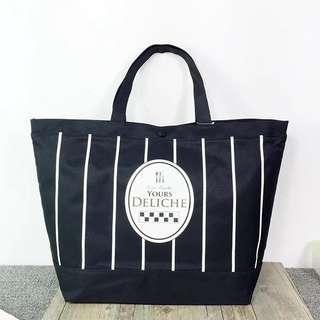 日本 yours deliche 黑色豎條 大購物袋