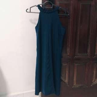 Shift Dress w/ Braided Neckline