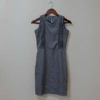 Grey pleated office dress