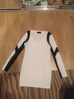 Arrogant Cat mini white dress black mesh size 12 Large