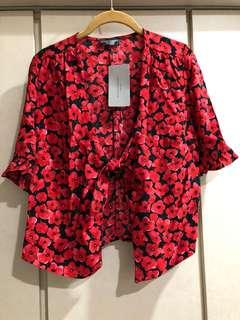 Zara red floral tie-front outer wear
