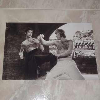"Bruce Lee In Way Of The Dragon 8 x 12"" B/W Photo 李小龍 Chuck Norris Colosseum"