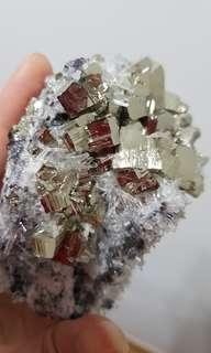 Huge pyrite cluster with crystal needle quartz