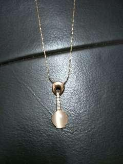 Rose Gold Peach Crystal Necklace #OCT10