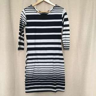 Long sleeves stripes dress