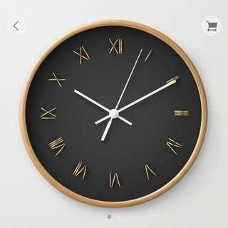 Wall Clock — Black & Gold
