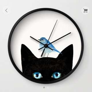 Wall Clock — Black cat and blue bird