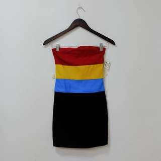 NWT! Colorful striped tube bodycon dress