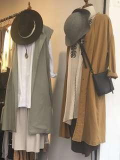韓國百搭文青全麻棉泥黃色寬鬆外套 可當連身裙