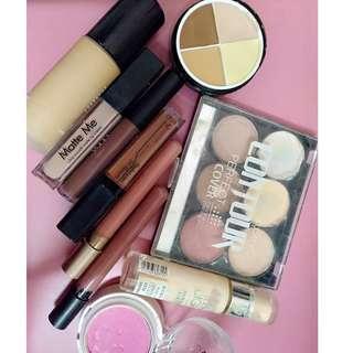lipstic, blusher, foundation, primer, contour
