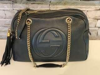 GUCCI SOHO Leather Medium Chain Bag in Gold Hardware