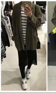 Bershka深綠色寬鬆韓國款中長身外套 連身裙 褲 外套 牛仔