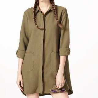 TCL oversized button shirt in olive green