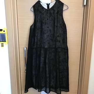 Initial 黑色透視雲石紋高貴連身裙 衛衣外套 褲 外套 牛仔
