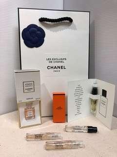 香奈兒coco香精&香水樣品組合 贈精品香水專屬紙袋 CHANEL COCO 1932 & Hermes Twilly
