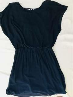 Warehouse elasticized waist mini dress in peacok blue with low sexy open back