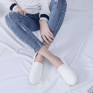 Korean white slip on shoes