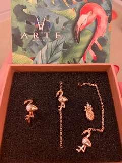 ARTĒ flamingo bracelet, ring and earrings set