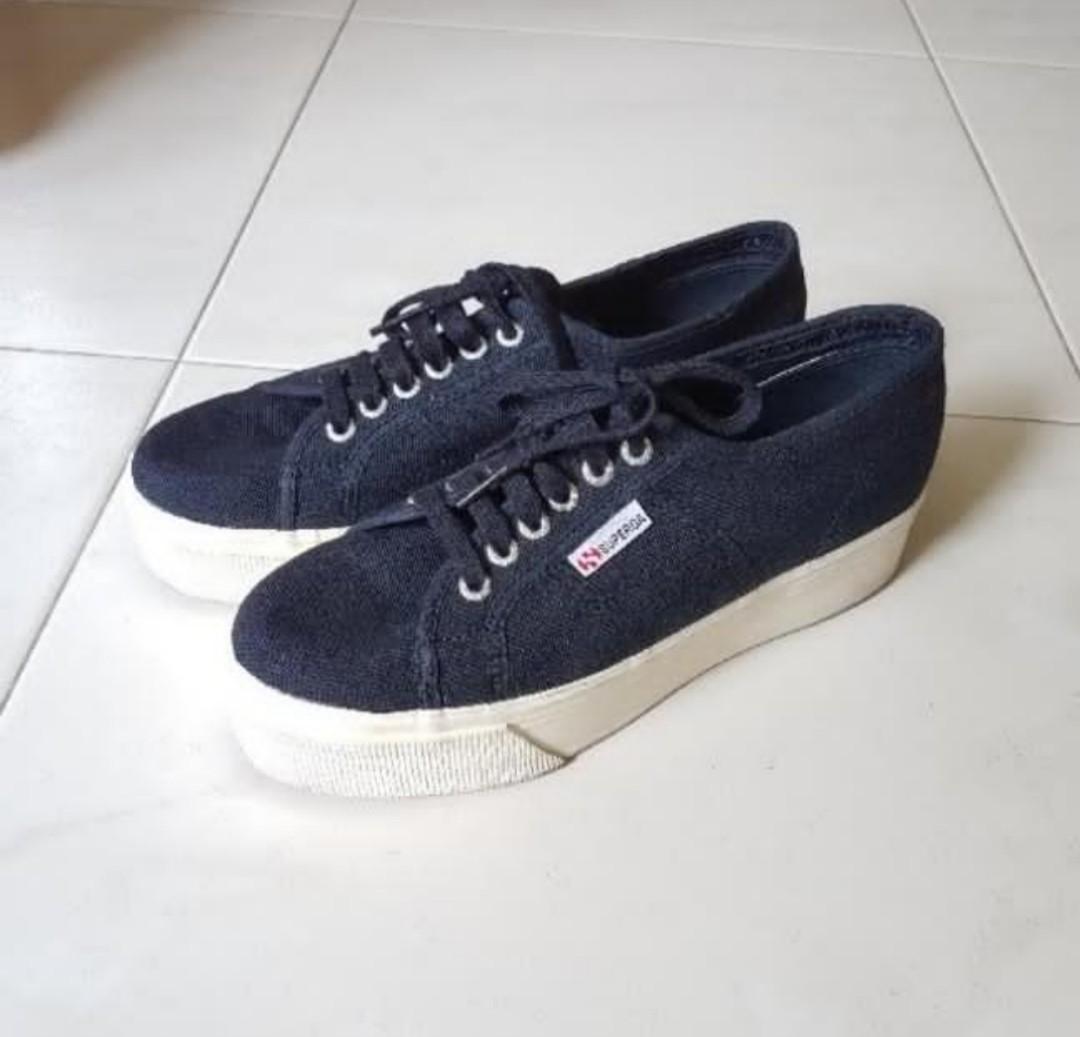 19175bf0809 😊 Superga Platform Navy Blue Sneakers